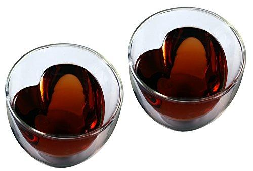 "Feelino | 2x 250ml ""doppelwandiges"" Teeglas mit Herzform innen"