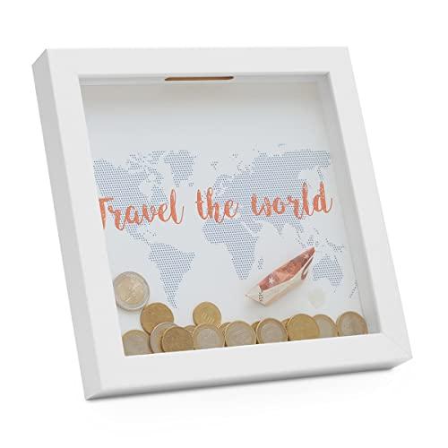 Photolini | Bilderrahmen als Spardose - Geldgeschenk mit 3 austauschbaren Motiven