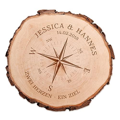 Casa Vivente | Baumscheibe aus Holz mit Rinde und Gravur