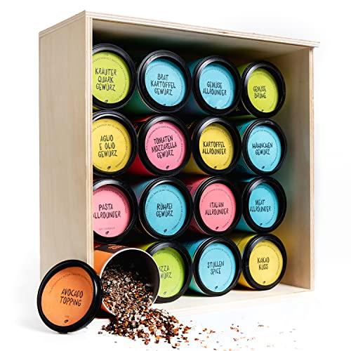 Just Spices Gewürze | 16 Teiliges Set in schöner Holzbox